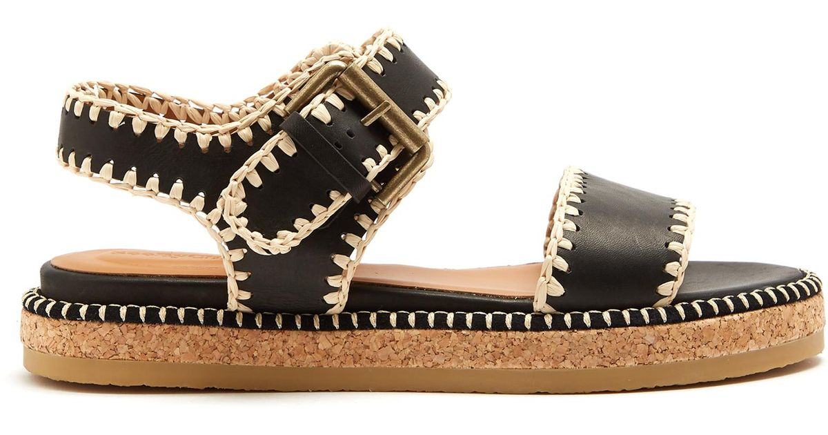 5a63a950049 Lyst - See By Chloé Blanket-stitch Embellished Leather Sandals