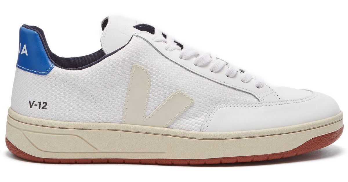 204c2279b8fde0 Lyst - Veja V-12 Low-top Leather And Mesh Trainers in White