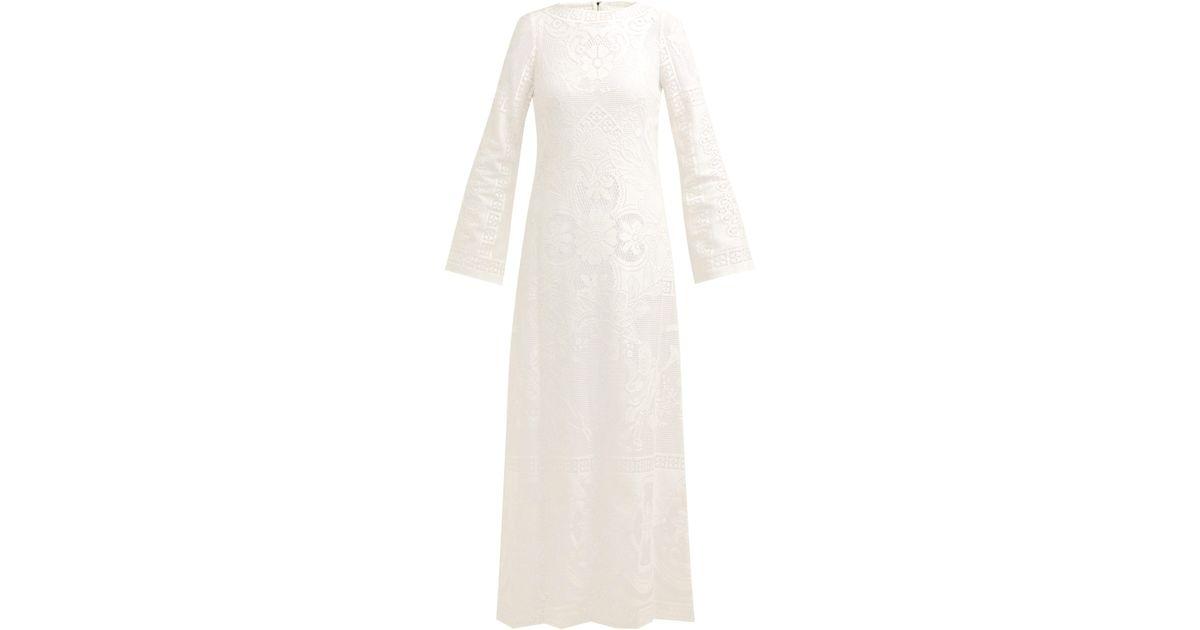 590a974c2e Dolce & Gabbana Cherub And Floral Lace Cotton Blend Maxi Dress in White -  Lyst