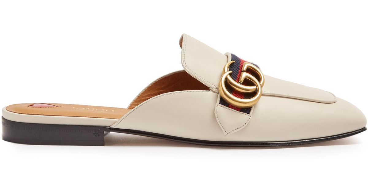274f03e31 Gucci Peyton Leather Mules in White - Lyst