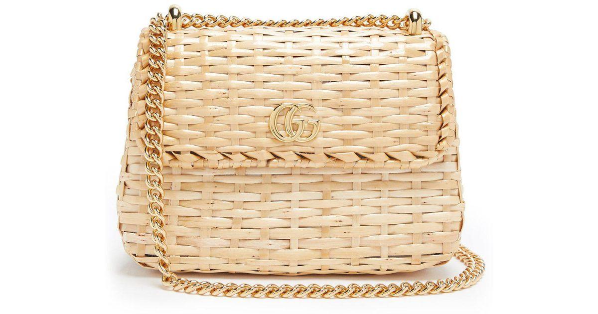 4c3a08d17 Gucci Cestino Wicker Cross Body Bag in Natural - Lyst