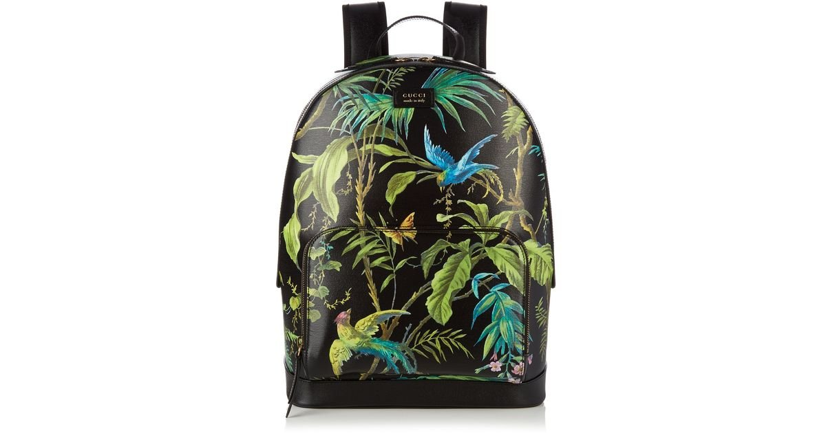 Lyst - Gucci Tropical-Print Leather Backpack in Black for Men 99925fd70f282