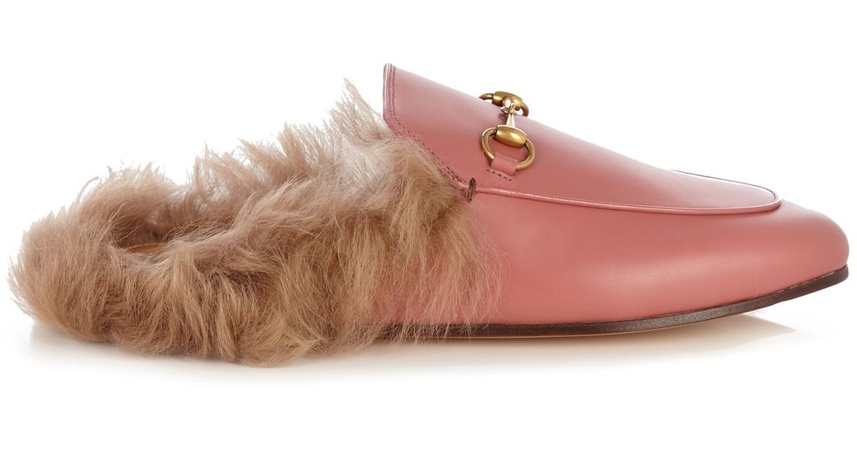 Gucci Princetown Fur Lined Backless Leather Loafers In