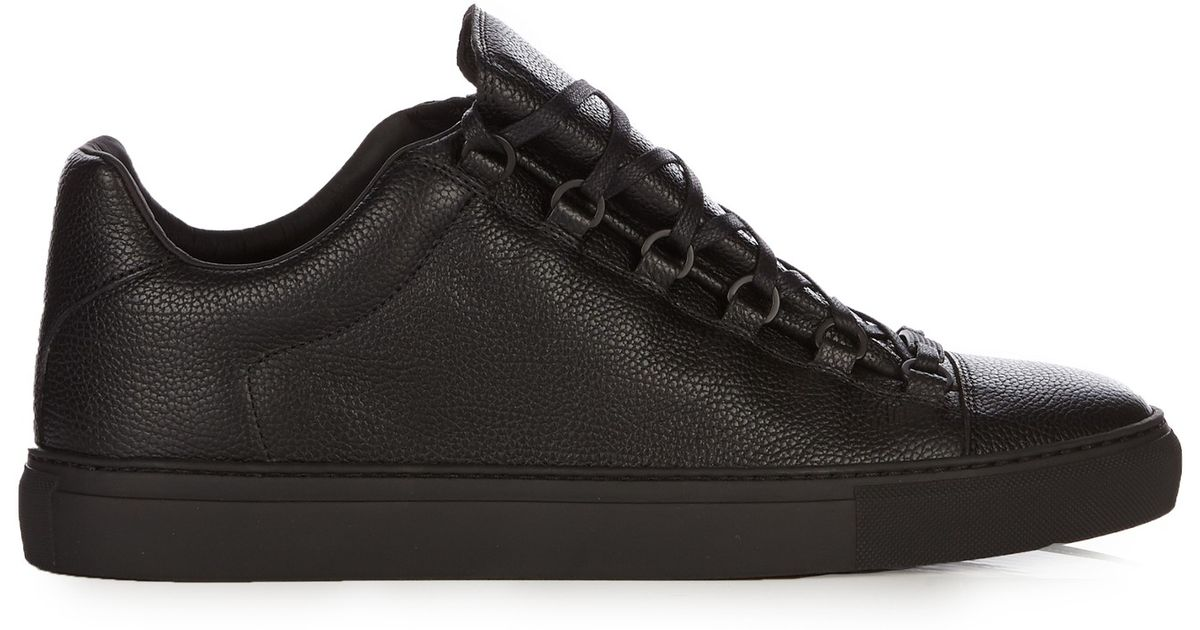 balenciaga arena leather low top sneakers in black for men lyst. Black Bedroom Furniture Sets. Home Design Ideas