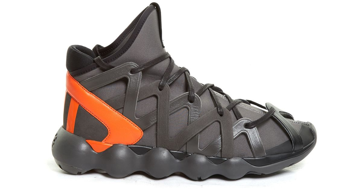 7e90439c58128 Lyst - Y-3 Kyujo Contrast-heel High-top Trainers in Gray for Men