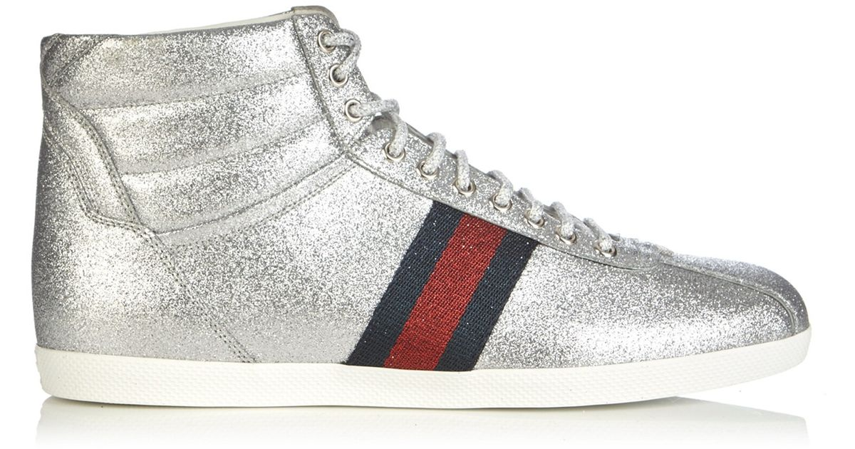 Gucci Bambi Glitter High Top Trainers In Metallic For Men