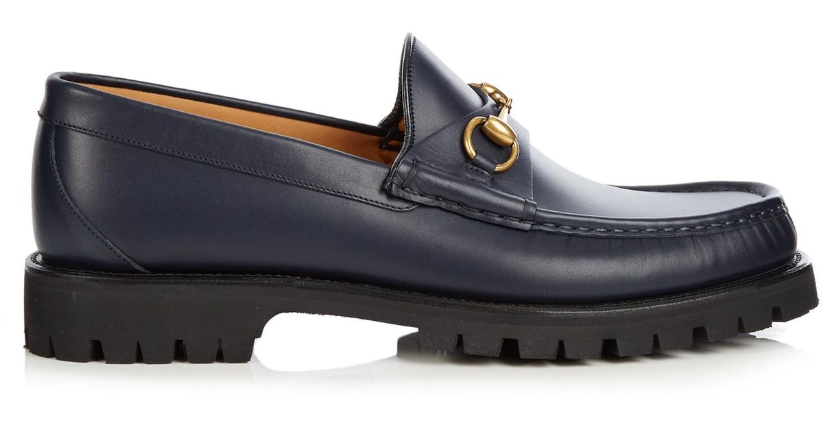 a9ff1f24602 Gucci Alfons Leather Loafers in Blue for Men - Lyst