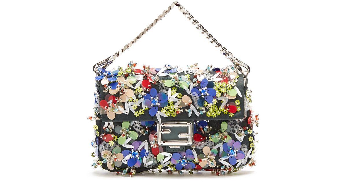 a23674664a61 Lyst - Fendi Micro Baguette Bead-embellished Satin Bag