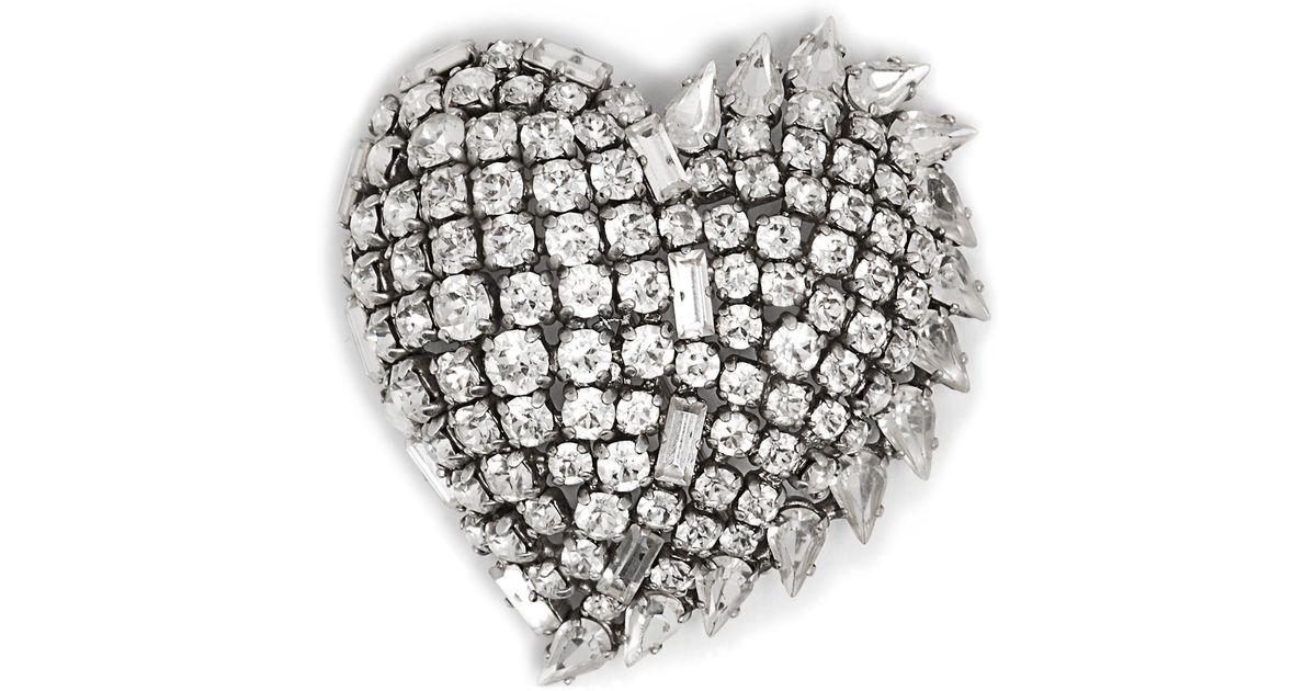 Saint Laurent Smoking Heart crystal-embellished brooch PVPOm8k