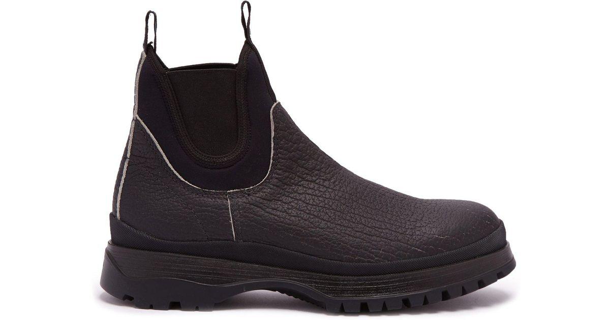 ded406b9b97f Prada Brixxen Neoprene-panelled Leather Chelsea Boots in Black for Men -  Lyst