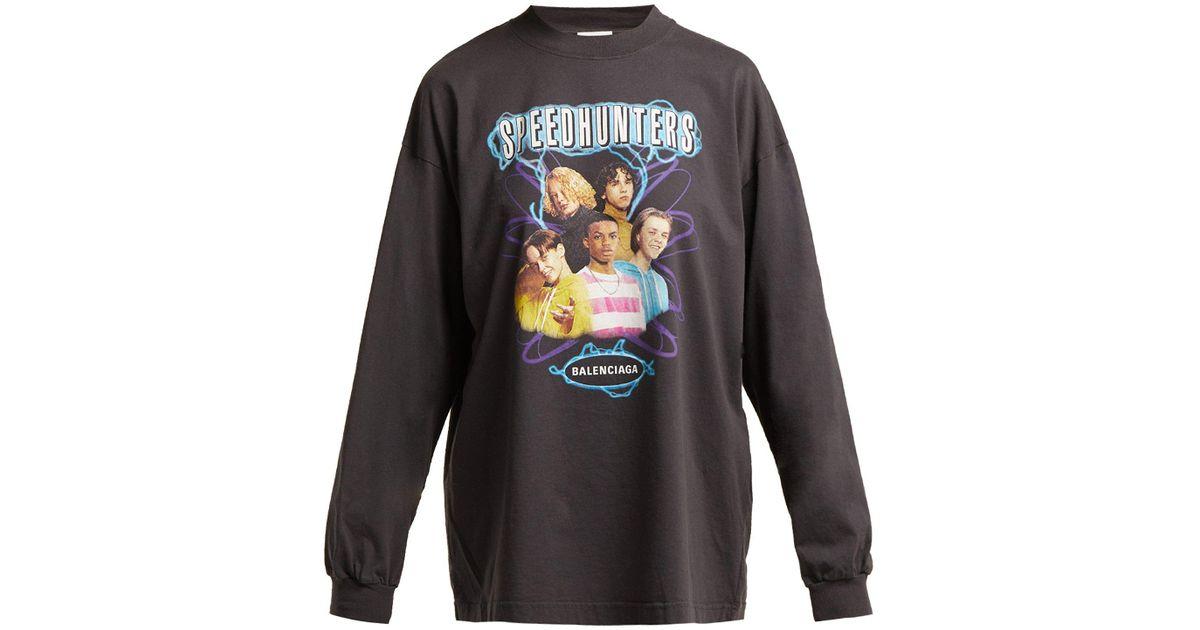 ea5a52060a5d Balenciaga Black Speedhunters Long Sleeve T-shirt in Black - Lyst