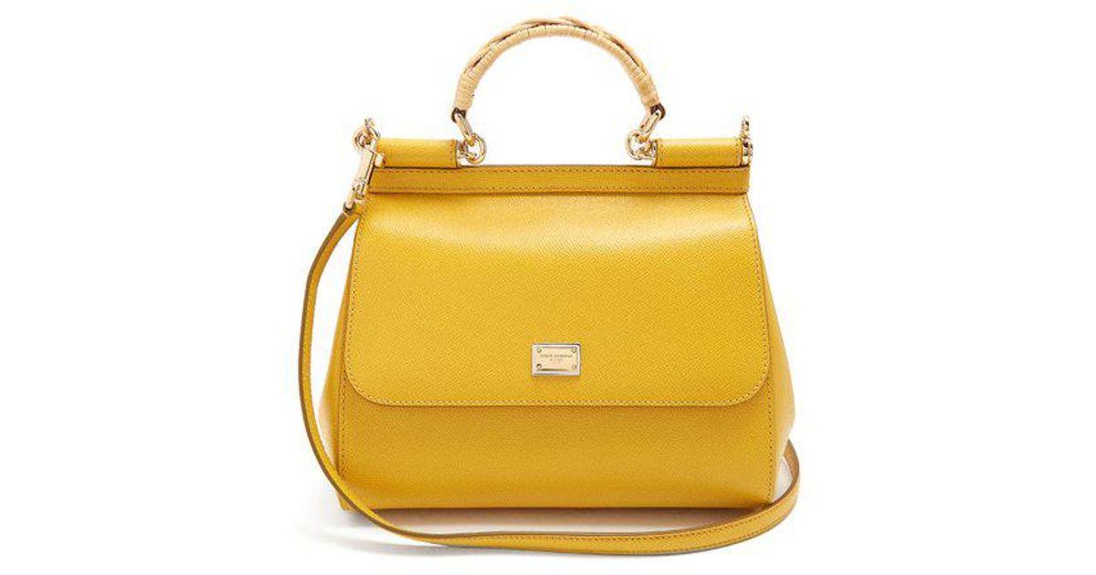 Lyst - Dolce   Gabbana Sicily Medium Pebble-leather Bag in Yellow 842790f1ae0b7