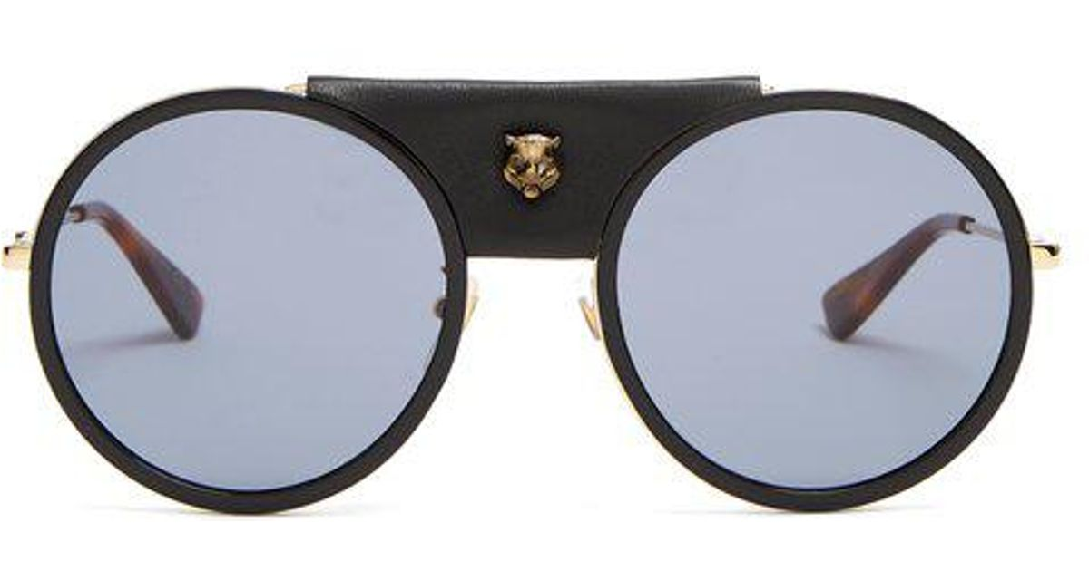 Round-frame leather-trimmed metal sunglasses Gucci TrrGbsyI5R