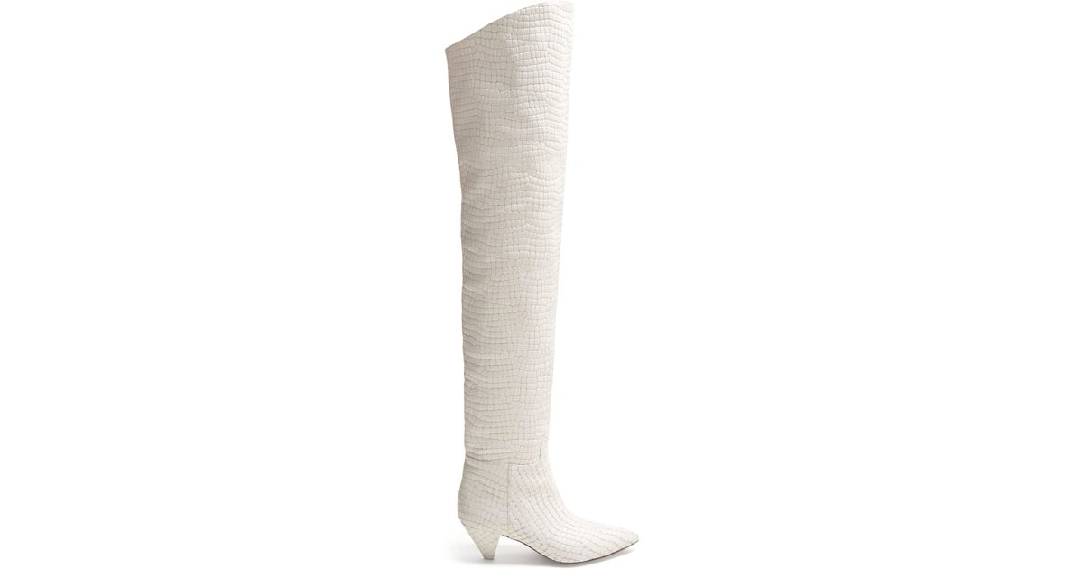 c82a34d8018 Attico Crocodile Effect Leather Over The Knee Boots in White - Lyst