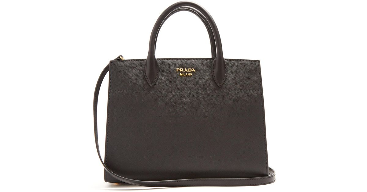 8f1fccc505e61c Prada Bibliotheque Contrast Leather Bag in Black - Lyst