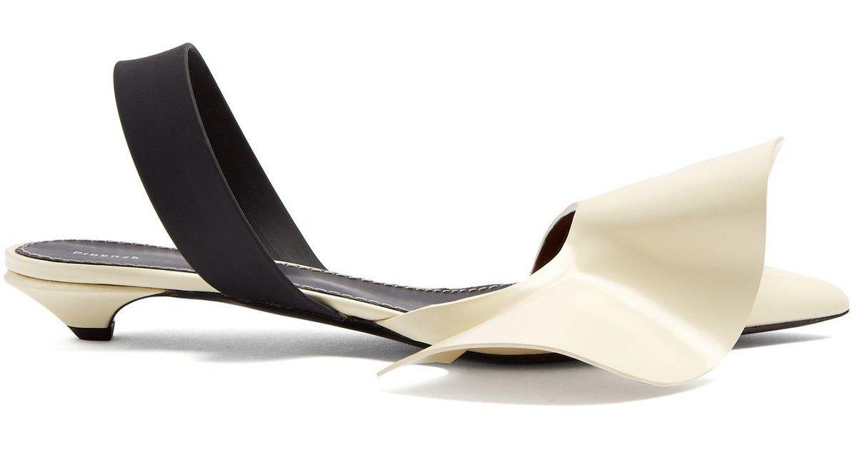 6f1af86d61 Proenza Schouler Frill-detailed Leather Kitten-heel Slingback Pumps in  White - Lyst