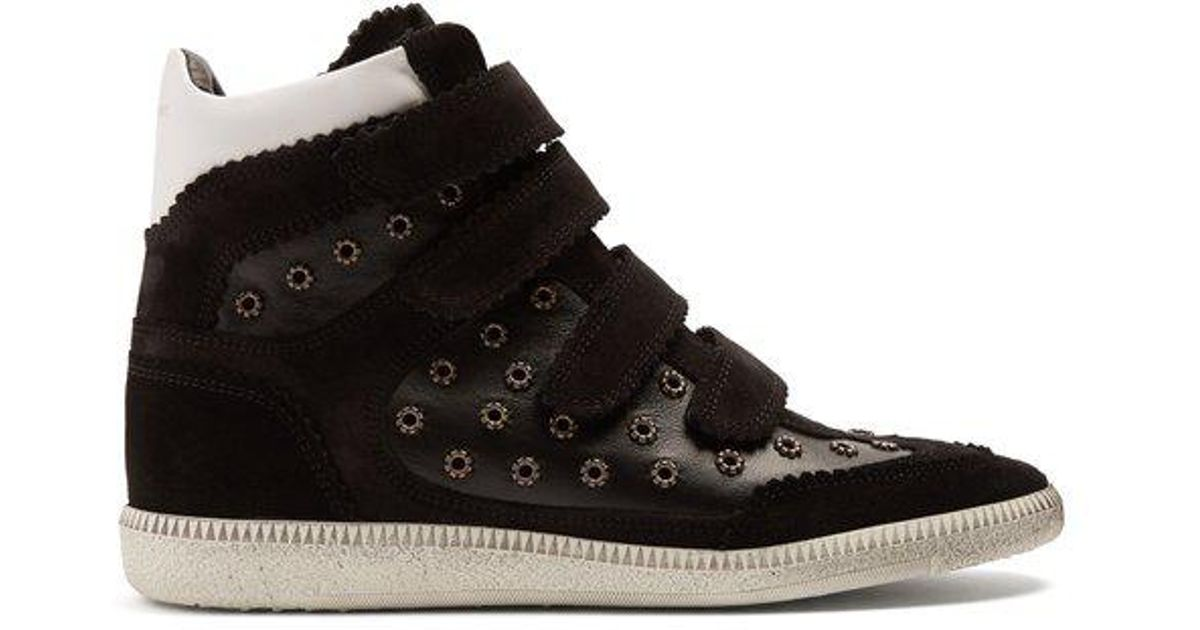 Bilsy embellished concealed-wedge leather trainers Isabel Marant d0mT6