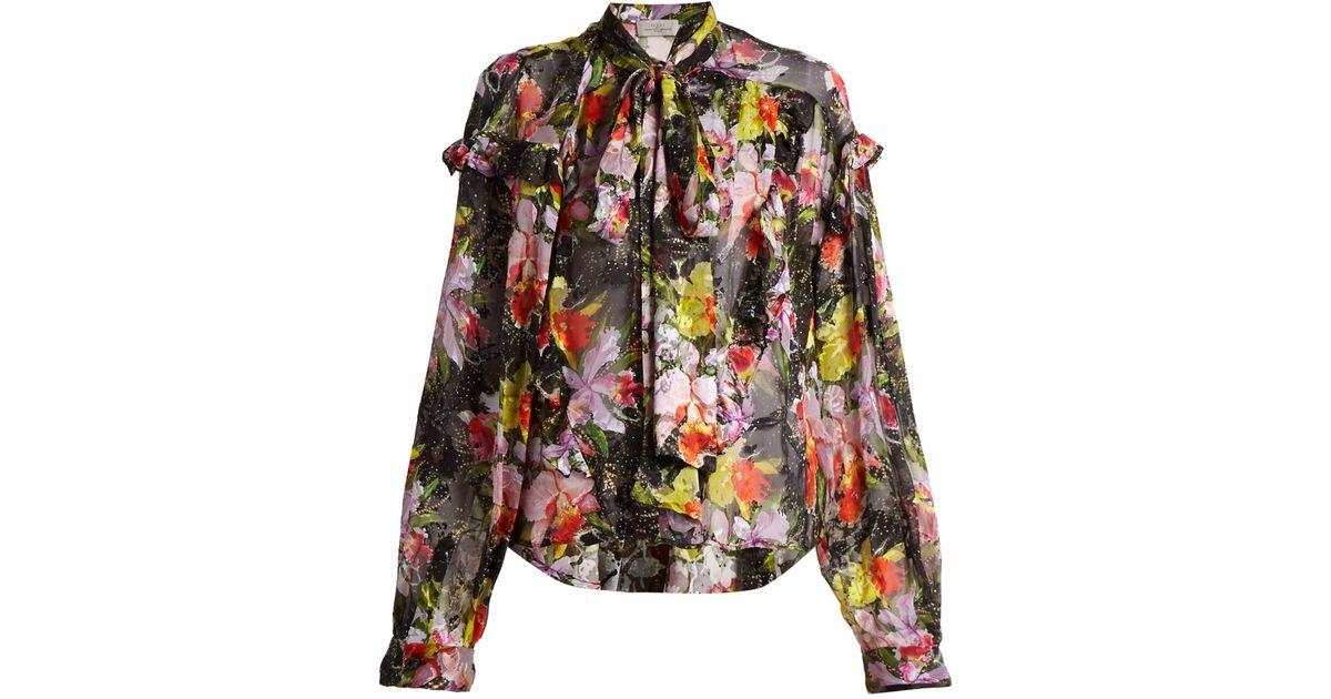 Preen By Thornton Bregazzi Woman Cora Printed Devoré Silk-blend Chiffon Top Black Size L Preen Buy Cheap Pay With Paypal HosyAgU5