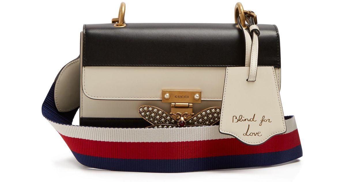 17d3ec8ecfb Lyst - Gucci Queen Margaret Leather Shoulder Bag in Black