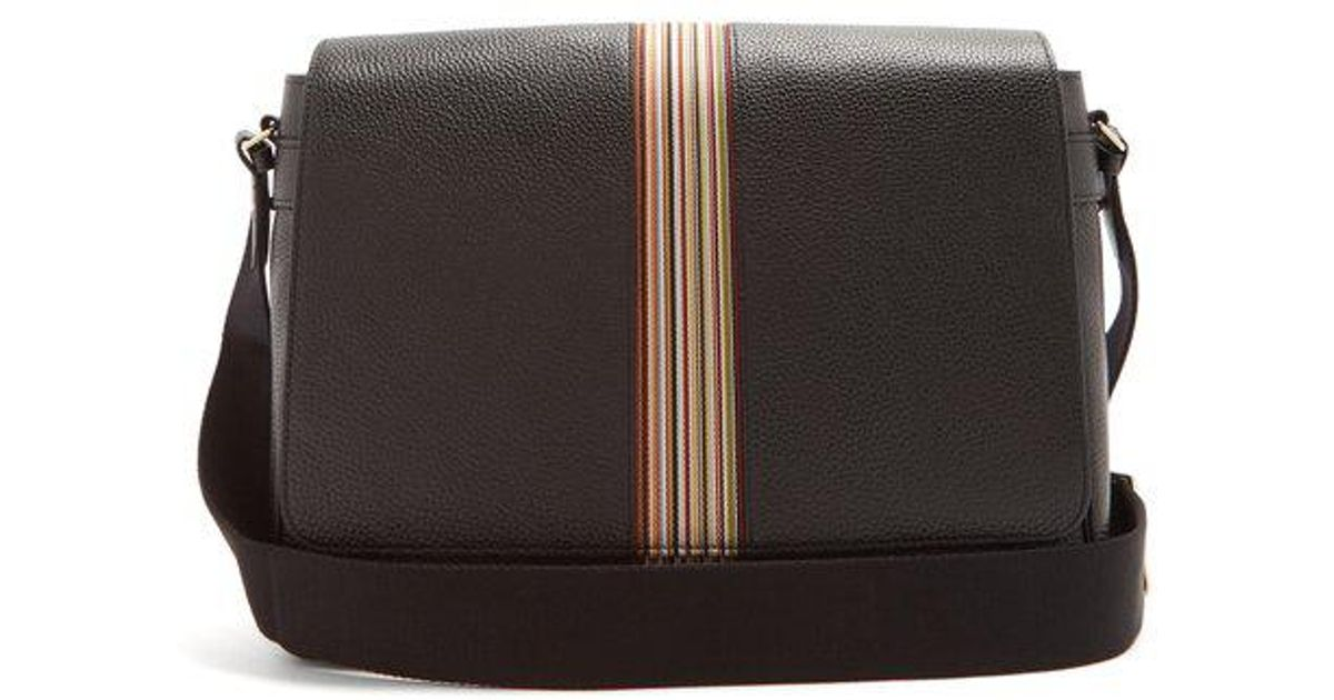 889a315f82 Lyst - Paul Smith Signature Stripe Leather Messenger Bag in Black for Men -  Save 60%