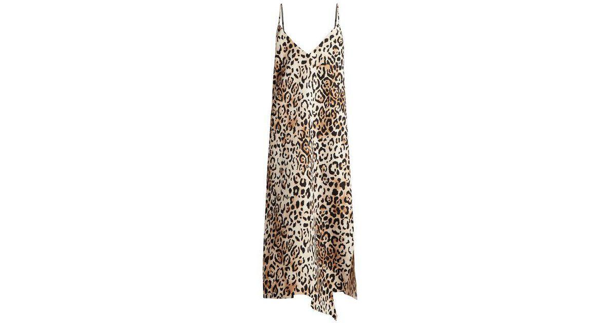 4c6efa9f91 Lyst - Raey Asymmetric-hem Leopard-print Twill Slip Dress