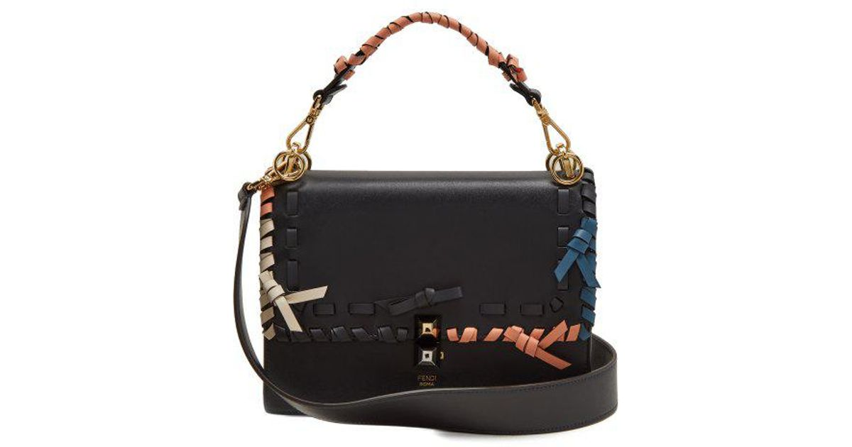 d839f20a92b3 Lyst - Fendi Kan I Whipstitched Leather Cross-body Bag in Black