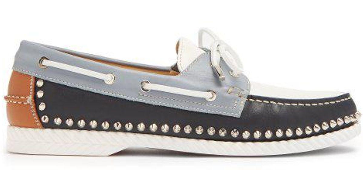 Steckel stud-embellished leather deck shoes Christian Louboutin 5VYMbfOJ4