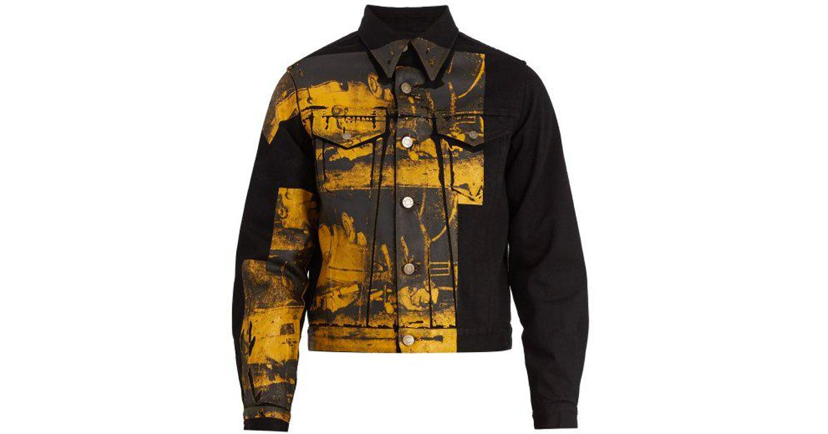 b3974a6e119 Lyst - CALVIN KLEIN 205W39NYC Car Crash-print Denim Jacket in Black for Men