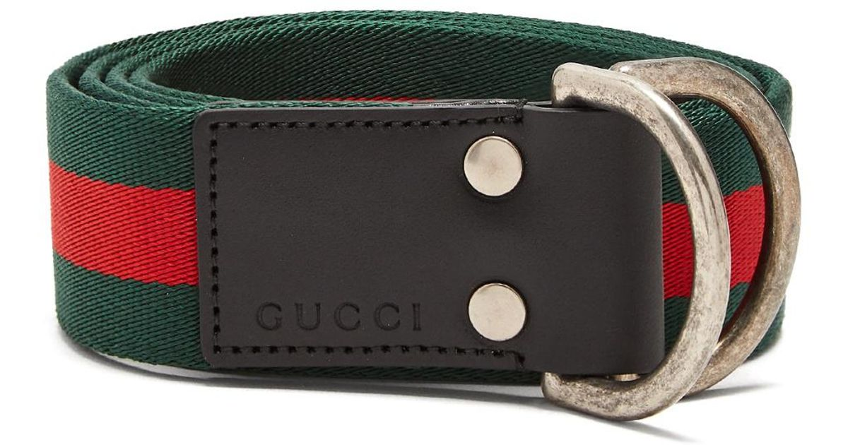 129b14428 Gucci Web Striped Canvas Belt in Green for Men - Lyst