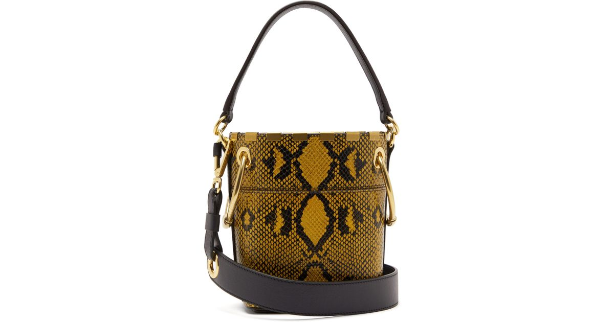 0699fd3e0fbf Chloé Roy Snake Effect Mini Leather Bucket Bag - Lyst
