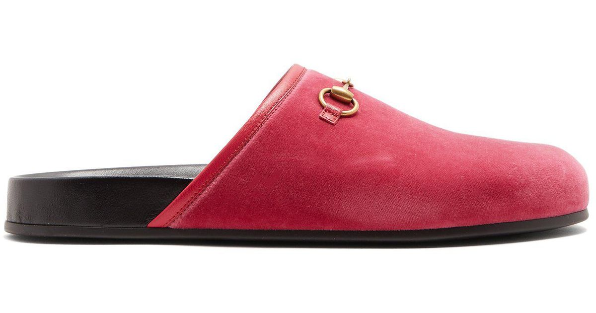 3fd34854686 Lyst - Gucci New River Velvet Loafers in Pink