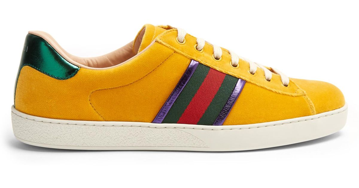 a3fc4724a Gucci New Ace Low-top Velvet Trainers for Men - Lyst