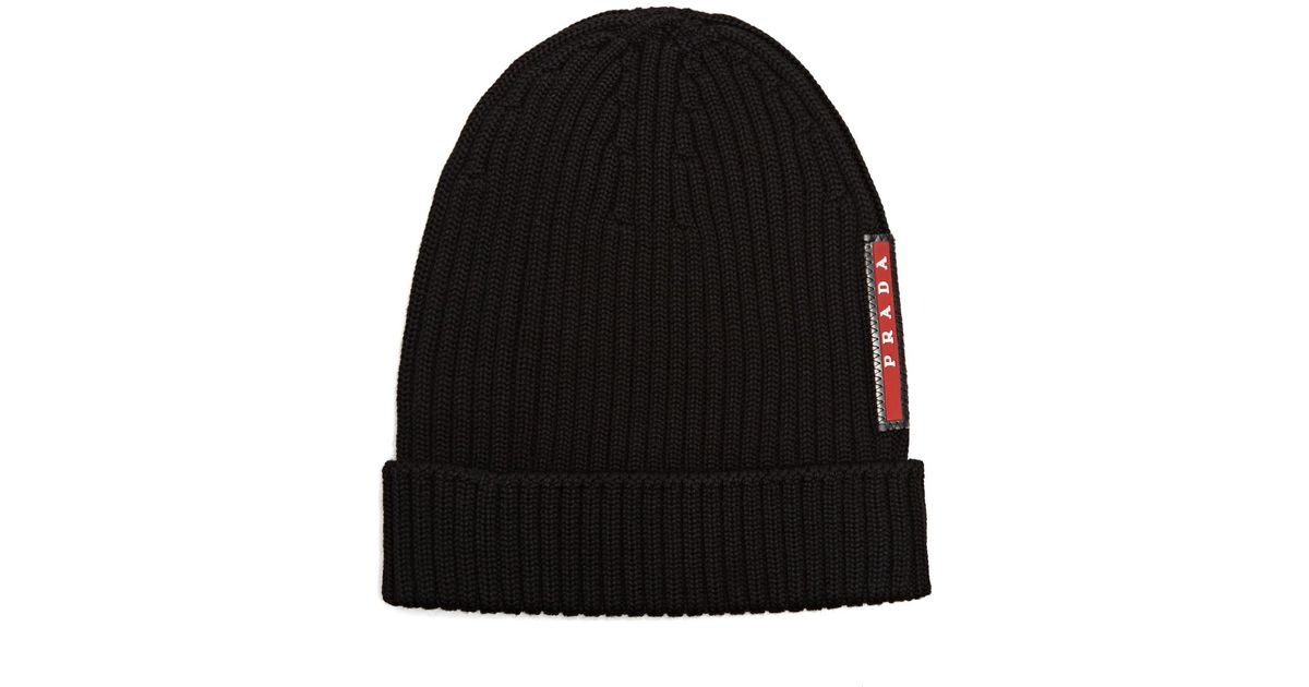 f48245687ff Lyst - Prada Ribbed-knit Beanie Hat in Black for Men