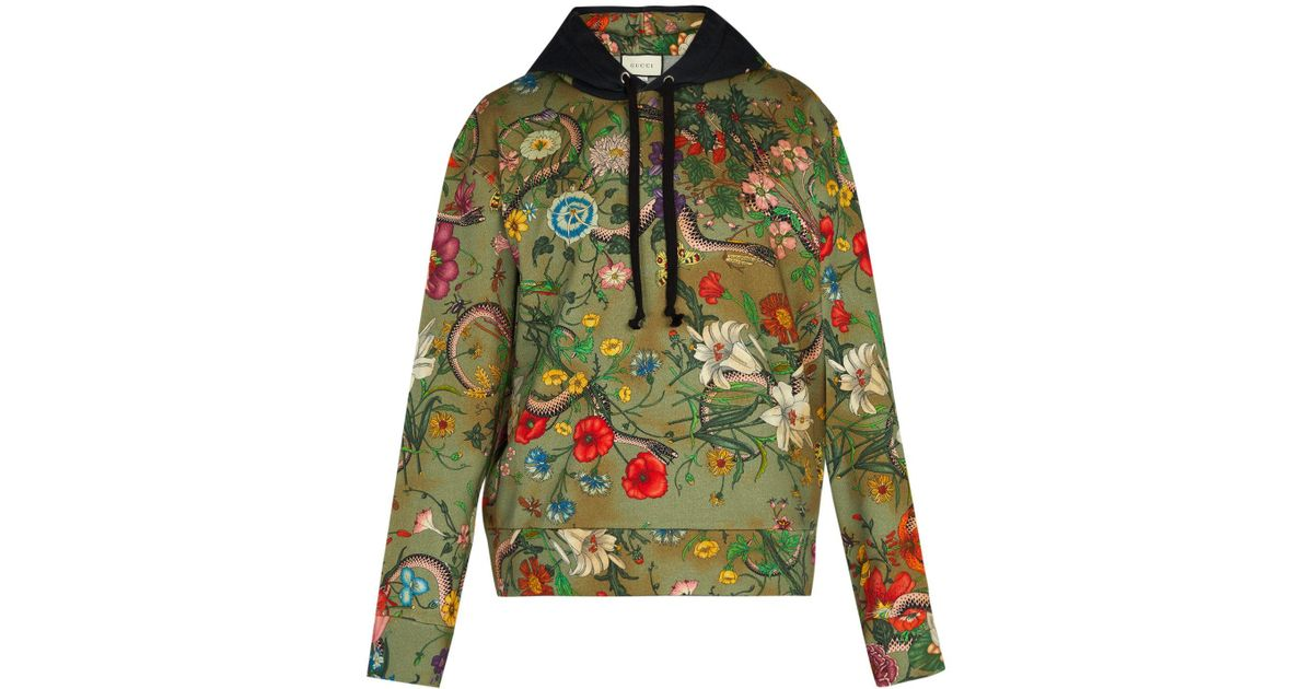 f1e58230964 Lyst - Gucci Floral Snake Print Cotton Jersey Hooded Sweatshirt in Green  for Men