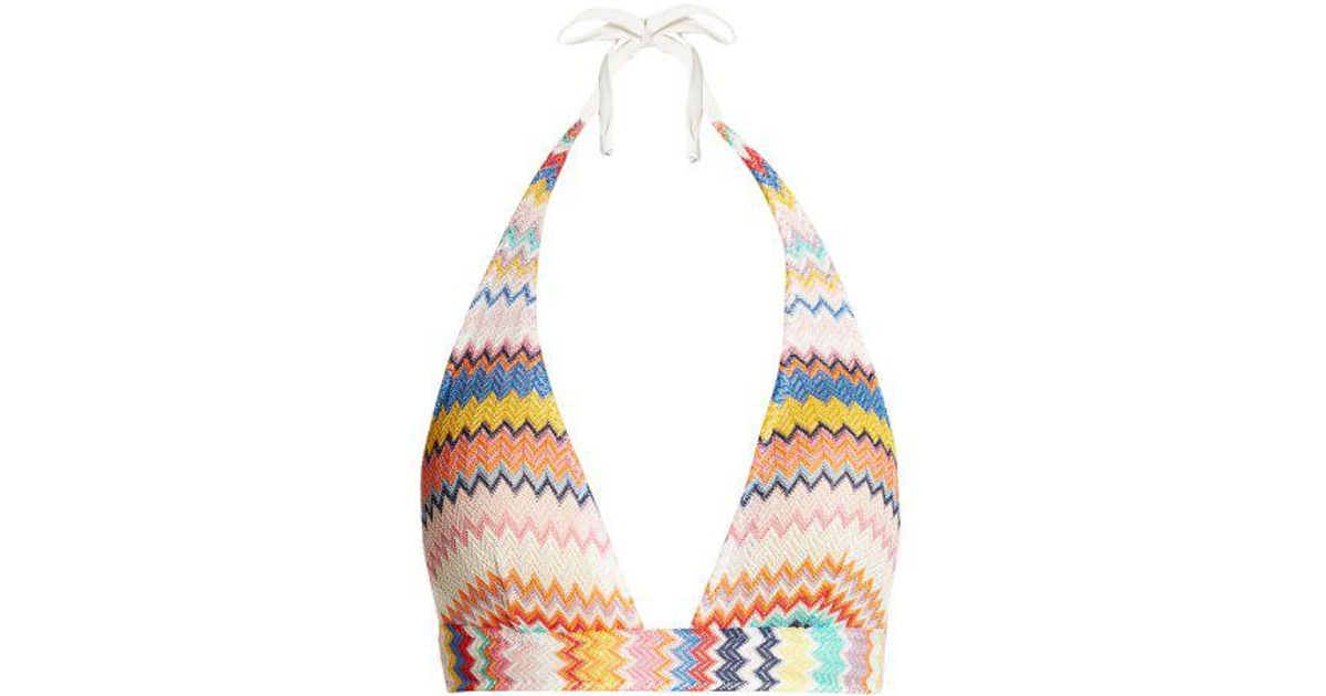 Lyst Missoni Zigzag Knit Bikini Top