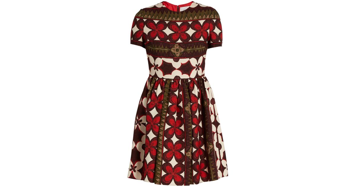 9606c89b1c0c Valentino Floral-print Wool And Silk-blend Dress in Red - Save 26% - Lyst