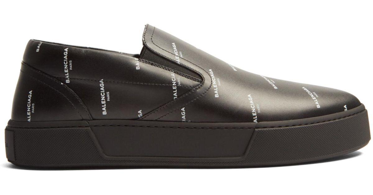 c899fe826cdb0 Lyst - Balenciaga Logo-print Low-top Leather Trainers in Black for Men