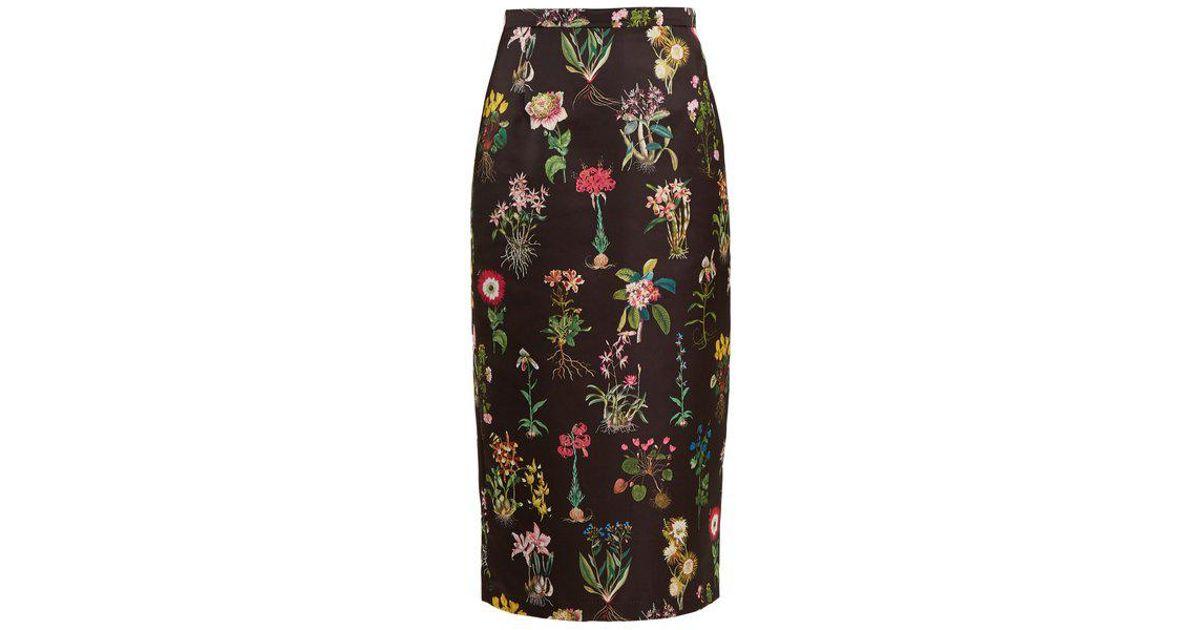 2ec92de531ca88 N°21 Botanical-print Duchess-satin Pencil Skirt in Black - Lyst