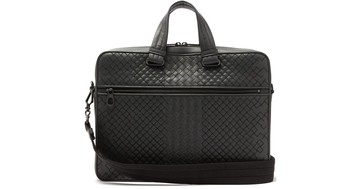 7c6c6febb22d Bottega Veneta Aurelio Intrecciato Leather Briefcase in Gray for Men - Lyst