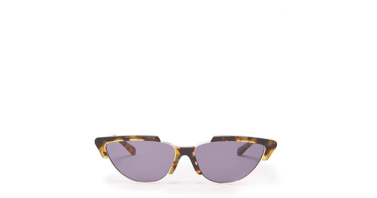 b1220e85acf4 Karen Walker Tropics Crazy Tort Cat-eye Sunglasses - Lyst