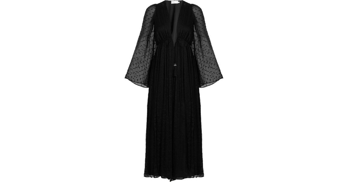 b34386566db Lyst - Zimmermann Gossamer Polka-dot Embroidered Silk Jumpsuit in Black