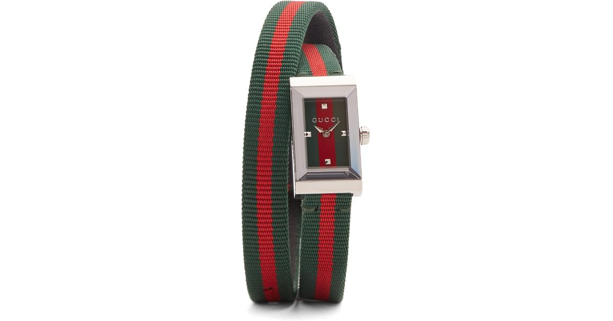 Lyst - Gucci G-frame Stainless-steel And Canvas Watch in Green