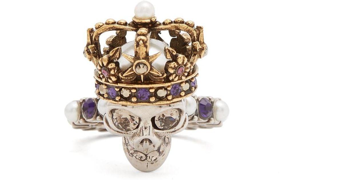 Cristal Cráneo Rey Y El Anillo De Alexander Mcqueen Perla-embellecido 7XrWG