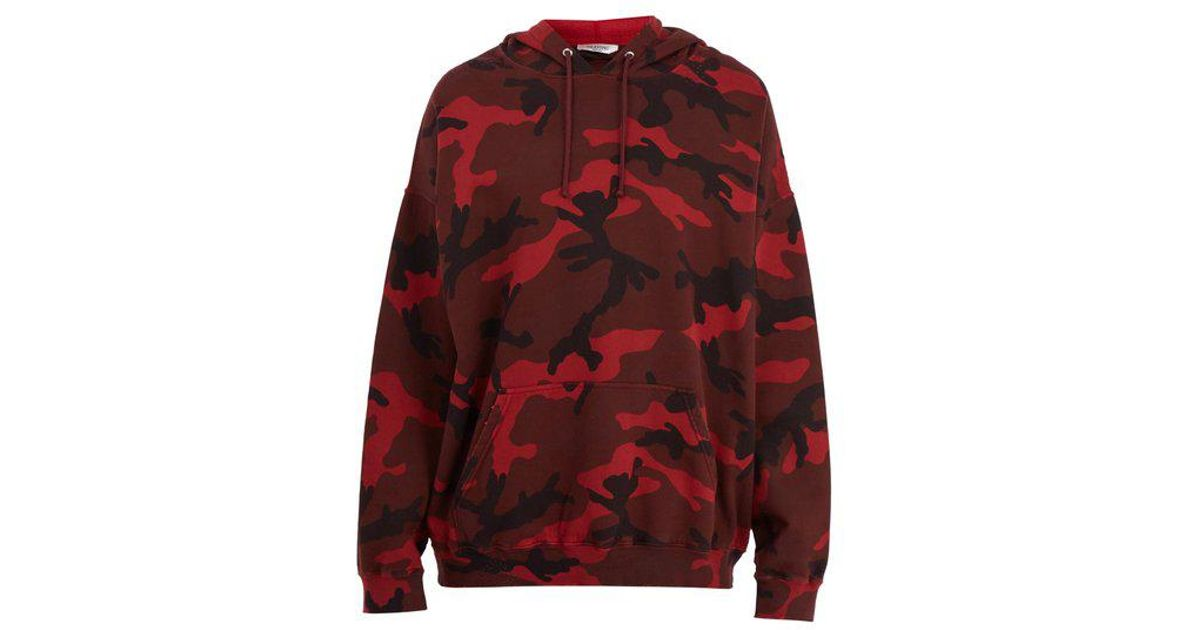 9c5163f066230 Valentino Camouflage Print Cotton Blend Hooded Sweatshirt in Red for Men -  Lyst