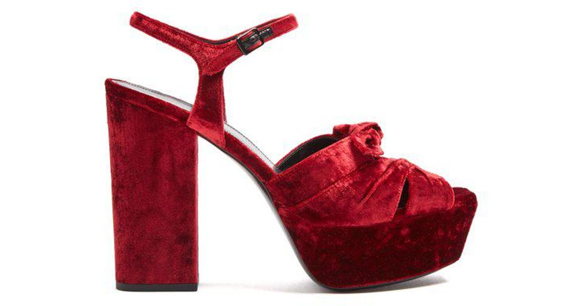 Saint Laurent Farrah crossover velvet platform sandals Outlet Sast 449ZlZr