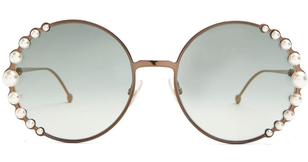 21b231dcaed Lyst - Fendi Faux-pearl Embellished Round-frame Sunglasses