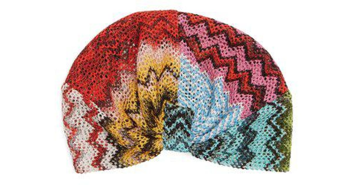 4cfa458d74a Missoni Degradé Knitted Turban Hat in Red - Save 14.285714285714292% - Lyst