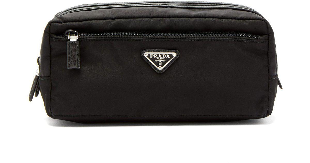 b3fdef7cf05b Prada Double Zip Wash Bag in Black for Men - Lyst
