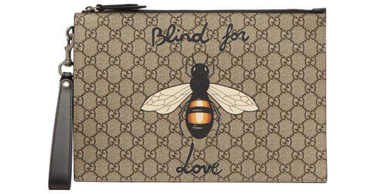 99d6a4ed2 Gucci Gg Supreme Bee-print Pouch in Brown for Men - Lyst