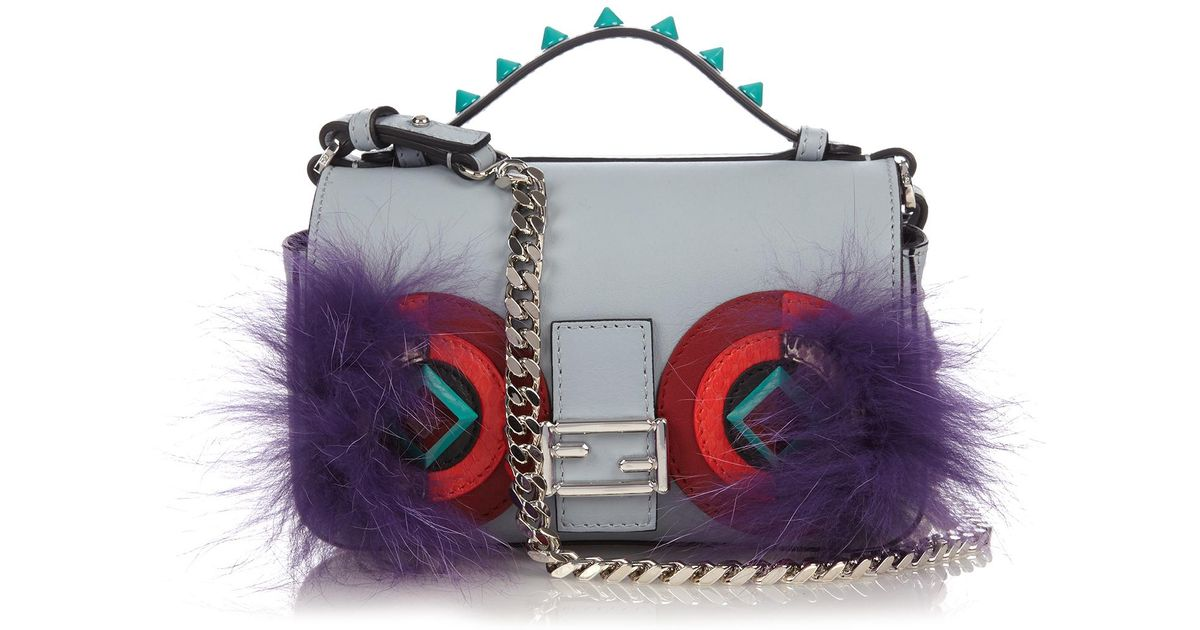 f834fce147d8 Lyst - Fendi Double Micro Baguette Bag Bugs Cross-body Bag in Blue